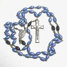 "Rosary dark blue & black plastic beads 22.25"" B5"