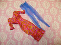Mattel Barbie Doll Clothing Lot Vintage FASHION AVENUE PINK PAISLEY DRESS & HOSE