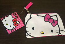 Sanrio Hello Kitty White & Pink Zipper Pouch Coin Cosmetic Bag Wallet- AUTHENTIC