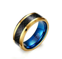 Men's Blue/Gold Tungsten Carbide Carbon Fiber Wedding Ring Band 8MM Size 7-12