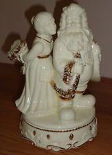 Santa & Mrs. Claus musical Christmas figurine white w/Gold trim 8.5""