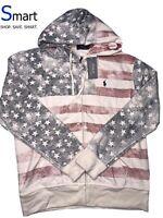NWT MEDIUM MEN Polo Ralph Lauren USA Flag Logo FULL ZIP Fleece Pullover Hoodie
