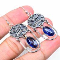 """London Blue Topaz  Gemstone 925 Sterling Silver Jewelry Earring 2.32 """""""