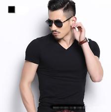 Moda Para hombres Calce Ajustado Cuello en V Algodón Blusa Mangas Cortas Prendas para el torso informales de hombre Camiseta