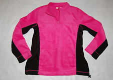 Womens Fleece Jacket PINK BLACK Pull Over PLUSH Neck Zip WAIST CINCH M 8-10 Pkts