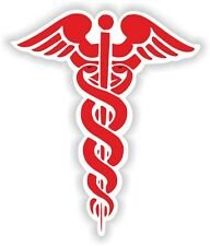 1x Red CADUCEUS STICKER MEDICAL Pharmacy Doctor Bumper Door Laptop Tablet PC #05