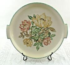 "Vintage Hand Painted Plate Germany Floral Serving Plate 9"" plus Handles Original"