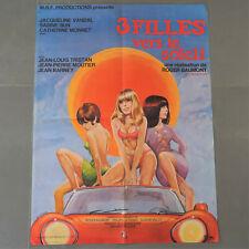 Affiche cinéma 1967 originale film érotique sexy,3 filles vers le soleil