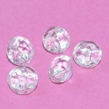 Lot de 5 petits boutons anciens verre transparent 8mm button
