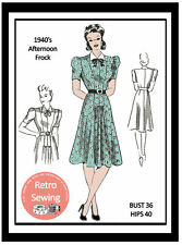 1940s Afternoon Tea Dress Sewing Pattern Reproduction