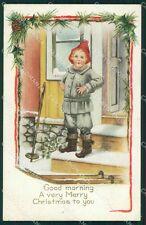 Christmas Geetings Ski Boy Relief postcard cartolina QT5884