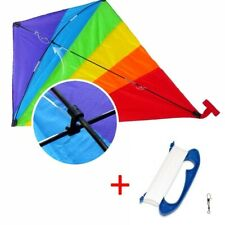 47 inch Easy Flyer Rainbow Kites for Kids and Adults with 300ft Line Handle