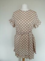 I Saw It First: Size 12. Polka Dot Tie Waist Frill Detail Dress. Brown/White.
