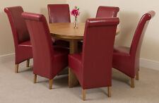 Edmonton Solid Oak Wood Oval 110 - 140cm Extending Dining Table & Leather Chairs Montana 6 Burgundy Ws884 My-8053 Red6