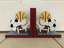 Sports Theme Book Ends Wooden Decorative Kids Toddler Room Baby Lillian Vernon