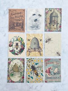 Vintage Style Bee Card Toppers, Spring Summer Gift Tags Craft Make Your Own