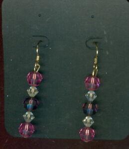 "Made With Swarovski Crystal 8m Ball Earrings Fuschia & AB 14k/20 GF Hooks 2"""