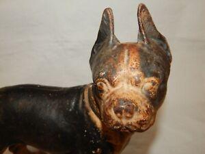 EARLY 1900'S CAST IRON BOSTON TERRIER DOG DOOR STOP > 100% ORIGINAL.. ..