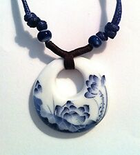 Ethnic Necklace Painted with Blue Lotus Flower on Peace Design Ceramic Pendant