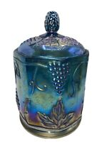 Indiana Glass Co Iridescent Carnival Glass Candy Jar 2224 Vintage Grapes Leaves