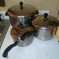 Vintage Farberware Aluminum Clad 6 piece 2qt 4qt 8qt Sauce Pan Stock Pot W/ Lids