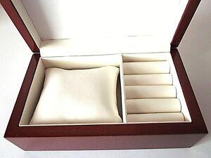 STUNNING Quality Wood Mahogany Brown Jewellery Box-Necklace Earrings-StorageCWK4