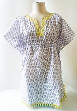 Stella & Dot Capri Tunic Blue Paisley Yellow Beach Cover Blouse OS New In Pkg