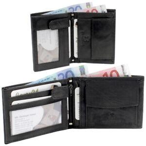 Leder Herren Geldbörse Geldbeutel Portemonnaie Hochformat Querformat schwarz