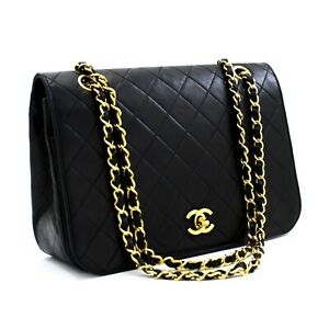 d15 CHANEL Authentic Full Flap Vintage Chain Shoulder Bag Black Quilted Lambskin