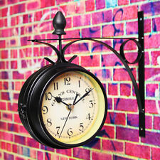 Double Sided Vintage Retro Large Wall Clock Shabby Chic Station Garden Outdoor