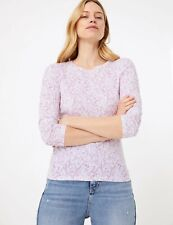 M&S Marks Spencer White Purple Floral Cotton Round Neck Long Sleeves T Shirt Top