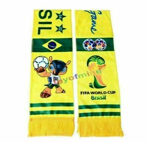 2014 Brazil Scarf Set 2 Scarves Mascot Fuleco Football World Cup for Soccer Fans