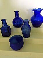 Five Cobalt Blue Decorator Mini Vases