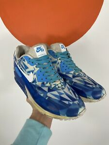 Nike Air Max 90 Hyperfuse Trainers Geometric Pattern Blue Shoes UK Size 9