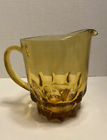 VINTAGE AMBER GLASS INDIANA GLASS KING'S CROWN BEVERAGE PITCHER HEAVY BASE 48 oz