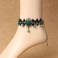 Foot Bracelet Barefoot Sandals Jewelry Gothic Green Bead Rose Flower Lace Anklet