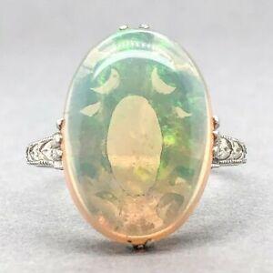 Estate Antique 18K WG Opal Cocktail Ring