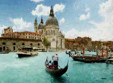"""VENICE ITALY Painting Giclee Canvas Signed 16""""x20"""" with mat frame Impressionism"""