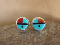Native American Indian Jewelry Turquoise Inlay Sunface Earrings! Zuni.