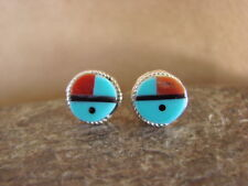Native American Indian Jewelry Turquoise Inlay Sunface Earrings! Zuni