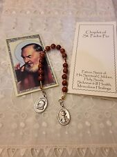 *NEW* *ST. PADRE PIO Hand-made  CHAPLET* GOLDSTONE FLECK beads, STUNNING !!