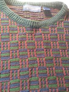 Roundtree & Yorke Crew Multi Color Cotton Knit Sweater Men's XL USA