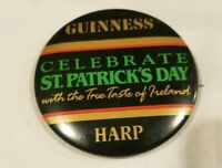 Rare Vintage Guinness Harp Beer Button St Patrick's Day Pin Pinback 90s 1991