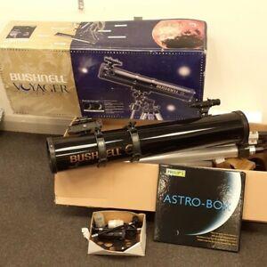 Bushnell Voyager Telescope 60mm w/ Tripod & Philips Astro-Box Planisphere Guide