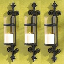 3 Tuscan Sconce Black Candle Holder Wall Decor