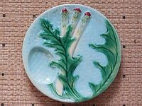 Exceptional  Antique French CLAIREFONTAINE  MAJOLICA ASPARAGUS PLATE 19th c.