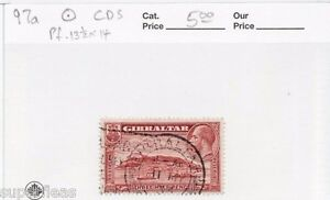 1938 Gibraltar Sc #97a Θ used F/VF Ships in harbor landscape. (a)  pf 13½ x 14