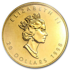 1998 Canada 1/2 oz Gold Maple Leaf BU - SKU #83469