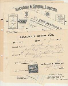 MALTA-EGYPT Letterhead & Receipts Cigarette & Tobacco Co. Tied Revenue 2d. 1939