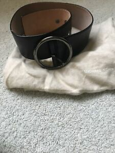 Michael Kors Collection Wide Black Leather Belt Round Engraved Pewter Buckle XS